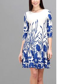 Another great find on #zulily! Blue & White Floral Shift Dress #zulilyfinds