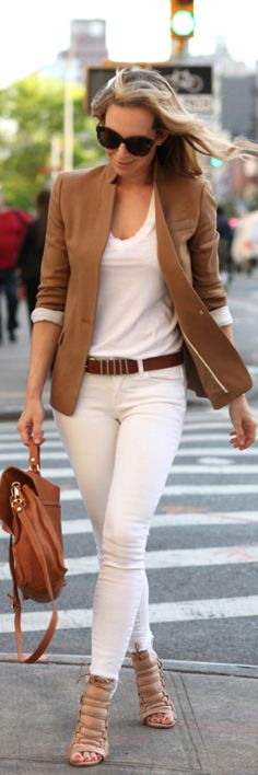Helena Glazer's outfit is one of elegant ease. White jeans from Paige, warm camel blazer from J. Crew, brown lace up shoes from Aquazzura and the bag is from Pietro