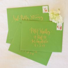 Apple Green with Gold Ink Calligraphy Envelope by afabulousfete, $2.90