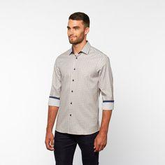 Windowpane Plaid Button-Down Shirt // Tan (S)