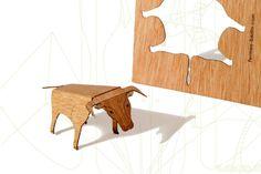 postcard wood - 3 cards set, Bull / Taurus