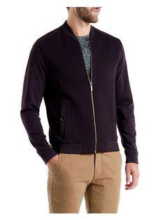 Deeaz quilted herringbone bomber jacket