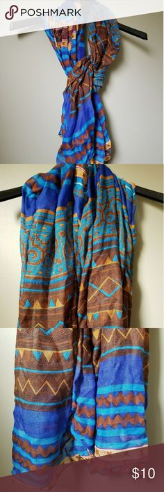 Scarf Beautiful lightweight scarf with blue and earth tone colors. Gently worn, good condition. Accessories Scarves & Wraps