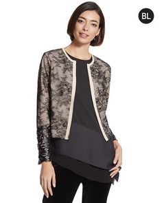 Chico's Black Label Lace Moto Jacket with Cutwork Cuffs #chicossweeps