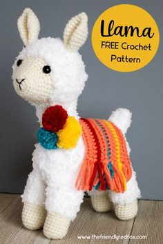 Free llama crochet pattern. Easy to read and follow amigurumi crochet pattern. Great for beginner and intermediate crochet levels. Crochet Animal Patterns, Stuffed Animal Patterns, Amigurumi Patterns, Cute Crochet, Knit Crochet, Crochet Hats, Crocheted Animals, Llamas, Crochet Clothes
