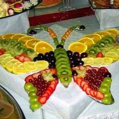 Butterfly fruit salad food art... using the word art a bit loosely here.