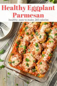 The best Healthy Eggplant Parmesan that has a crunchy coating, plenty of melted cheese, and a rich tomato sauce without all the calories and fat of the traditional fried version. 11 SP Recipes with calories Healthy Eggplant Parmesan - Slender Kitchen Eggplant Dishes, Eggplant Pasta, Vegetarian Recipes, Healthy Recipes, Vegetarian Casserole, Healthy Menu, Healthy Dishes, Ww Recipes, Recipes Dinner