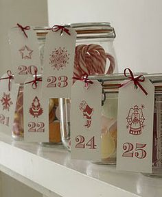 Advent Calendar - Use jars for daily gifts or activity cards...maybe wrap each in tissue paper so it's a surprise