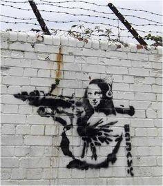Banksy Mona Lisa With Rocket Launcher - London