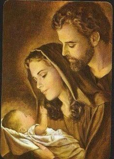 The Holy Family - Jesus Mary & Joseph Pray for Us! Religious Pictures, Jesus Pictures, Holy Family Pictures, Blessed Mother Mary, Blessed Virgin Mary, Catholic Art, Religious Art, Birth Of Jesus, Baby Jesus