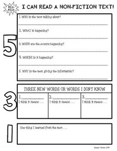This 5-3-1 organizer helps students to pick apart and close read non-fiction texts! It covers the second grade common core standard RI.2.1 (asking and answering who, what, when, where, why, and how questions).  It can be used with any non-fiction text!