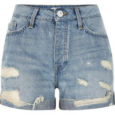 River Island Mid blue wash ripped boyfriend denim shorts ($64) ❤ liked on Polyvore featuring shorts, bottoms, blue, denim shorts, women, destroyed jean shorts, short jean shorts, distressed denim shorts and distressed shorts