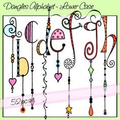 Dangles Alphabet – Lower Case art letters – zentangle  – doodling