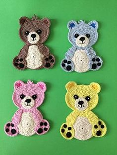 Learn how to crochet these cute crochet teddy bears with my free crochet pattern and video tutorial at Kerri's Crochet. Learn how to crochet these cute crochet teddy bears with my free crochet pattern and video tutorial at Kerri's Crochet. Crochet Applique Patterns Free, Crochet Teddy Bear Pattern, Crochet Bear, Baby Blanket Crochet, Free Pattern, Felt Patterns, Knitting Patterns, Crochet Appliques, Crochet Teddy Bears