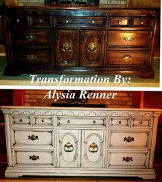 My awesome before and after of a craigslist 9 drawer dresser with homemade chalk paint and some Valspar antiquing glaze. I cant believe the difference!! Made by-alysia renner beourguestcakes@yahoo.com