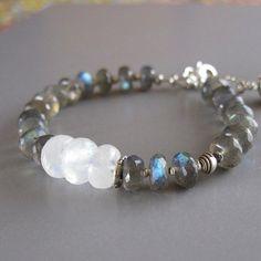 Labradorite Spectrolite Moonstone Ruby Sterling Silver Bead Bracelet