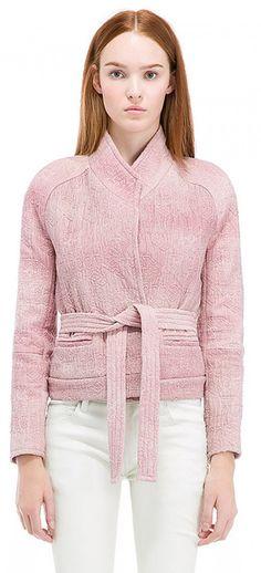 IRO Hawai Jacket veste structurée • avec épaulettes • ceinture à nouer à la taille • deux poches latérales • col châle • tissu en relief 100%COTTON US $480