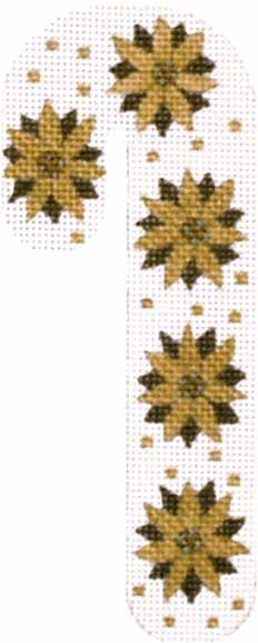 Melissa Shirley Designs | Hand Painted Needlepoint | Poinsettia Candy Cane