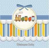 Welcome Baby Card Duck Toy Stock Vector (Royalty Free) 90254554 Baby Boy Cards, Baby Shower Cards, Baby Announcement Cards, Baby Illustration, Train Party, Welcome Baby, Art Pages, Homemade Cards, Card Making