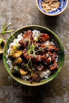 Sheet Pan Sticky Ginger Sesame Chicken and Crispy Brussels Sprouts | halfbakedharvest.com Chicken Crisps, Asian Recipes, Healthy Recipes, Thai Recipes, Sesame Chicken, Thai Chicken, Pesto Chicken, Half Baked Harvest, Comfort Food