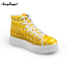 8379d27383d94 Pas cher NOISYDESIGNS Maïs Maïs Pastèque High Top Plate Forme Femmes  Chaussures Fruits Arc Bean Semelle