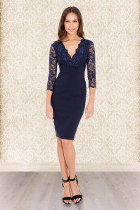Vintage Chic V Neck Lace Dress Navy 100 31 1481020141229 005m