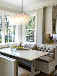 Love the benches and fabric perfect for my ideas in kitchen dinner!
