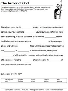 armor of God fill in the blank redo it in ESV Bible Study For Kids, Bible Lessons For Kids, Kids Bible, Youth Lessons, Children's Bible, Bible Text, Esl Lessons, Sunday School Lessons, Sunday School Crafts