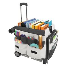 Rolling Teacher Cart: Save your back and keep things organized. Use the rolling cart to bring home grading, lesson planning, etc. Rolling Bags For Teachers, Teacher Rolling Cart, Teacher Cart, Teacher Tote, Teacher Helper, Teacher Organization, Teacher Blogs, Teaching Music, Student Teaching