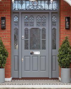 Traditional Victorian Front Door - London Door Company - Huyton-with-Roby - Door Design Victorian Front Doors, Victorian Porch, Grey Front Doors, Front Door Porch, Porch Doors, Double Front Doors, Front Door Entrance, Painted Front Doors, House Front Door