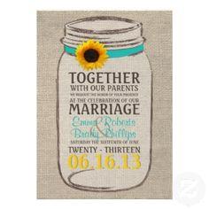 Mason jar theme, country wedding invitations from #Zazzle.