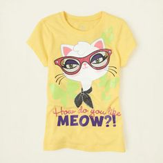 girl - graphic tees - meow graphic tee   Children's Clothing   Kids Clothes   The Children's Place