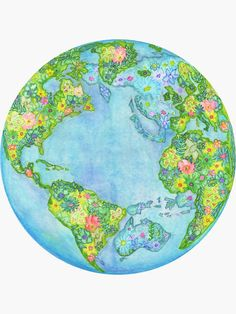 Floral Earth Art Print by 3 Willows - X-Small Save Earth Drawing, Colorfull Wallpaper, Earth Drawings, Earth Poster, Hippie Art, Cute Art, Watercolor Paintings, Watercolour, Colorful Backgrounds