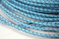 4mm Diameter Sky Blue Bolo Leather Cord, 4mm Woven Braided Leather