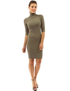 PattyBoutik Women's Turtleneck Elbow Sleeve Sweater Dress (Olive Green L) PattyBoutik http://www.amazon.com/dp/B00EAK3MMO/ref=cm_sw_r_pi_dp_RP2dwb1F0QFZ0