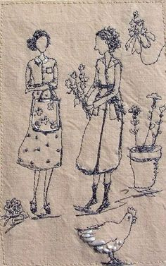 Photo: Betty visits Miss Simpkins allotment..X She returned with Sweet Peas and a Cauliflower. michelle holmes http://www.pinterest.com/mjsmoth/embroidery/