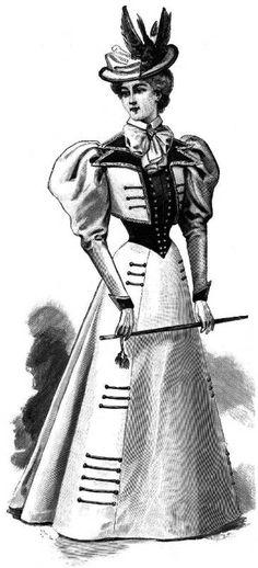 Costume with Bolero and Velvet Vest, Harper's Bazar Feb. 13, 1897, from Dressmaking Research