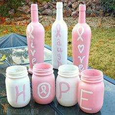 Breast Cancer Awareness Wine Bottle Crafts - Crafty Morning
