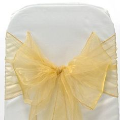 Mds Pack of 150 Organza chair sashes bow Sash for wedding and Events Supplies Party Decoration chair cover sash -gold