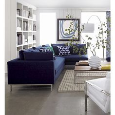 Navy Blue Sectional Sofa Foter Home Sweet Home Navy - Living room decorating ideas with sectional New Living Room, Home And Living, Living Room Decor, Modern Living, Living Room Artwork, Living Area, Cozy Living, Simple Living, Deco Studio