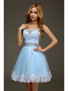 5a39595c755 2016 Real Short Ball Gown Ligh Blue Juniors Cocktail Dresses Sweetheart  Appliques Beaded Cute Above Knee Cocktail Party Dresses-in Cocktail Dresses  from ...