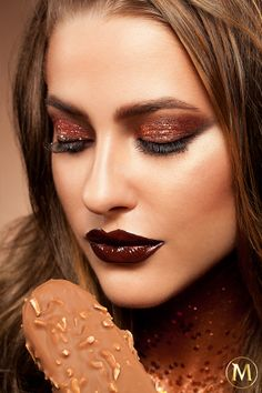 Chocolate drenched lips and rich glitter tones inspired by Magnum Almond and created by Karla Powell Make-up Artist. #chocolatelovers