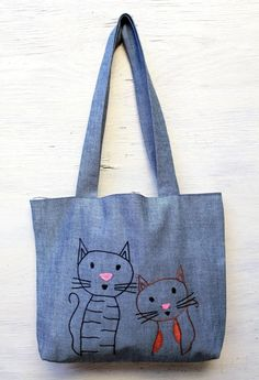 Friend cats/ shoulder bag / minimalist line drawing / by NIARMENA