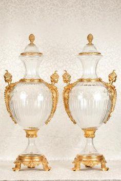 Empire Vases Urns French Glass Satyr Ormolu
