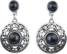 Waama Jewels Black Silver Plated back Push Style for girl Daily Wear gifts Turquoise Brass Drop Earring