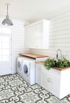 Vision for The Laundry Room & Craft Room {My New House!} - The Inspired Room - Laundry Room and Mudroom by Studio Mcgee :: The Inspired Room Vision for the Laundry and Craft Room - Laundry Room Tile, Farmhouse Laundry Room, Room Tiles, Laundry Room Design, Basement Laundry, Laundry Area, Laundry Closet, Farmhouse Flooring, Bathroom Tiling
