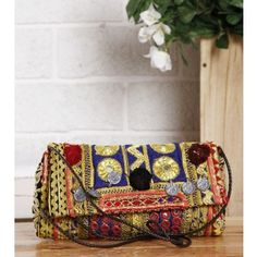Multicoloured Embroidered Afghani Clutch