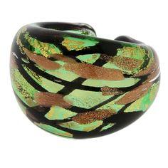 Murano Ring in Domed Design - Emerald Green