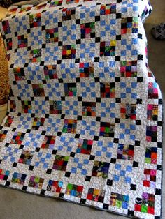 """Using up some of my 2.5″ squares. 74"""" by 90"""" (188 cm by 229 cm) It has now gone on to its owner. My friend, Marie Chestnut, quilted it. We are giving it to a friend who is starting chemo. I…"""