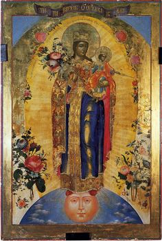 Our Lady - Chernobrovin Prokhorovich Ivan (1805 -?). Nevyansk. Wood dowels through mortise curly and face. Canvas, gesso, tempera, zolochenie.107 × 62 × 3.7 cm